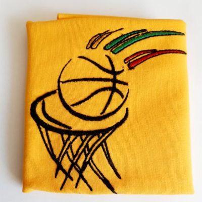 Siuvinėtas Basketball geltoname fone